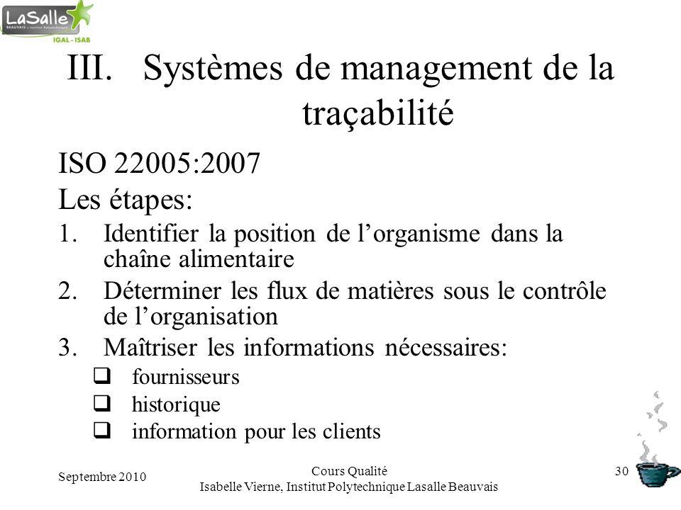 Septembre 2010 Cours Qualité Isabelle Vierne, Institut Polytechnique Lasalle Beauvais 30 III.Systèmes de management de la traçabilité ISO 22005:2007 L