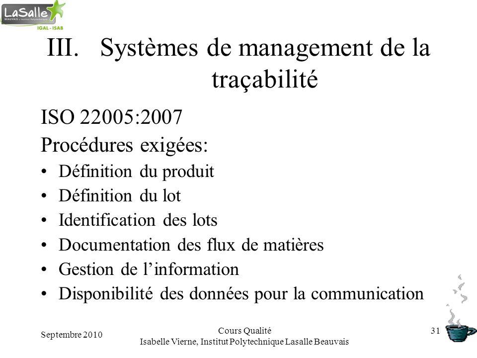 Septembre 2010 Cours Qualité Isabelle Vierne, Institut Polytechnique Lasalle Beauvais 31 III.Systèmes de management de la traçabilité ISO 22005:2007 P