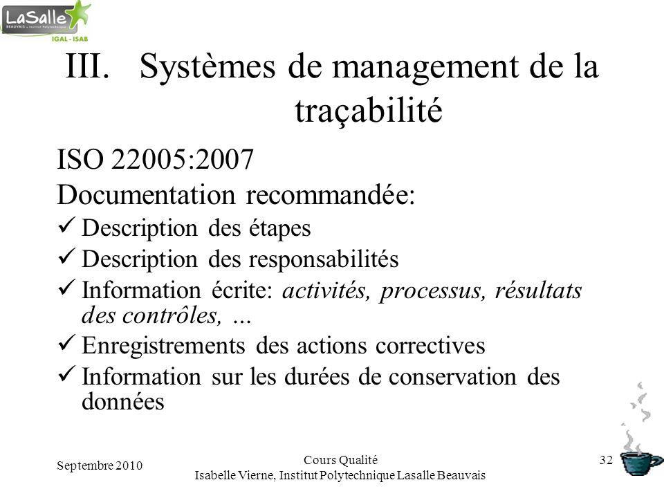 Septembre 2010 Cours Qualité Isabelle Vierne, Institut Polytechnique Lasalle Beauvais 32 III.Systèmes de management de la traçabilité ISO 22005:2007 D