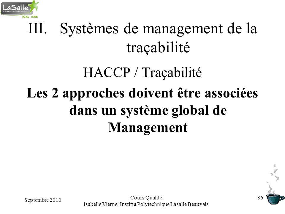 Septembre 2010 Cours Qualité Isabelle Vierne, Institut Polytechnique Lasalle Beauvais 36 III.Systèmes de management de la traçabilité HACCP / Traçabil