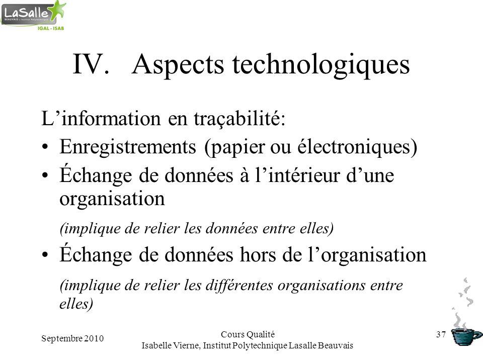Septembre 2010 Cours Qualité Isabelle Vierne, Institut Polytechnique Lasalle Beauvais 37 IV.Aspects technologiques Linformation en traçabilité: Enregi