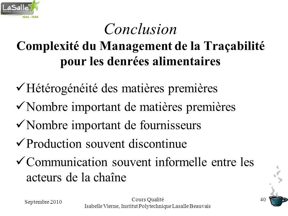 Septembre 2010 Cours Qualité Isabelle Vierne, Institut Polytechnique Lasalle Beauvais 40 Conclusion Complexité du Management de la Traçabilité pour le