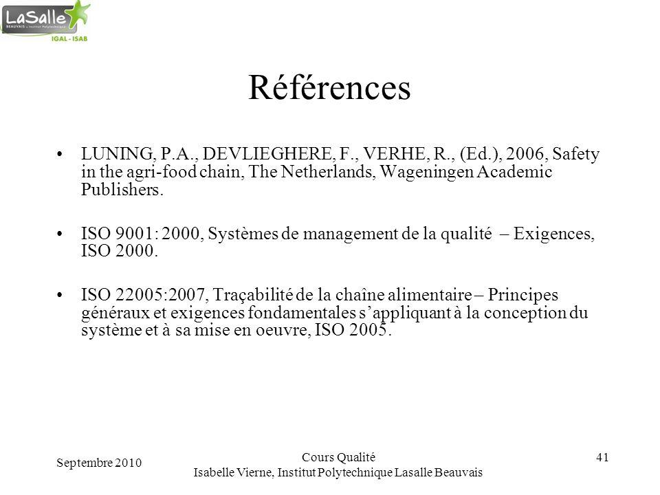 Septembre 2010 Cours Qualité Isabelle Vierne, Institut Polytechnique Lasalle Beauvais 41 Références LUNING, P.A., DEVLIEGHERE, F., VERHE, R., (Ed.), 2