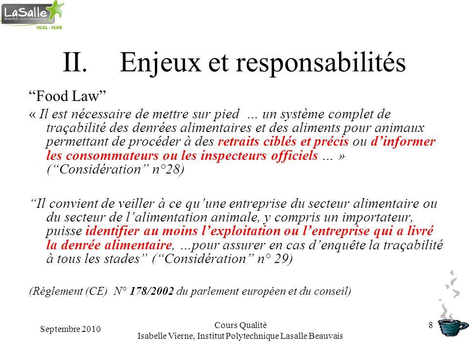 Septembre 2010 Cours Qualité Isabelle Vierne, Institut Polytechnique Lasalle Beauvais 8 II.Enjeux et responsabilités Food Law « Il est nécessaire de m
