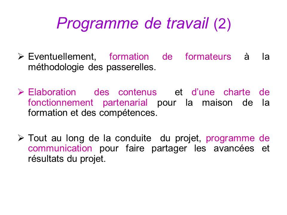 Programme de travail (2) Eventuellement, formation de formateurs à la méthodologie des passerelles. Elaboration des contenus et dune charte de fonctio