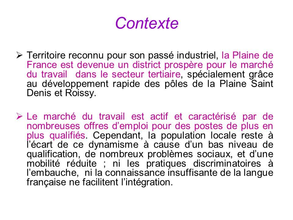 Contexte Territoire reconnu pour son passé industriel, la Plaine de France est devenue un district prospère pour le marché du travail dans le secteur tertiaire, spécialement grâce au développement rapide des pôles de la Plaine Saint Denis et Roissy.