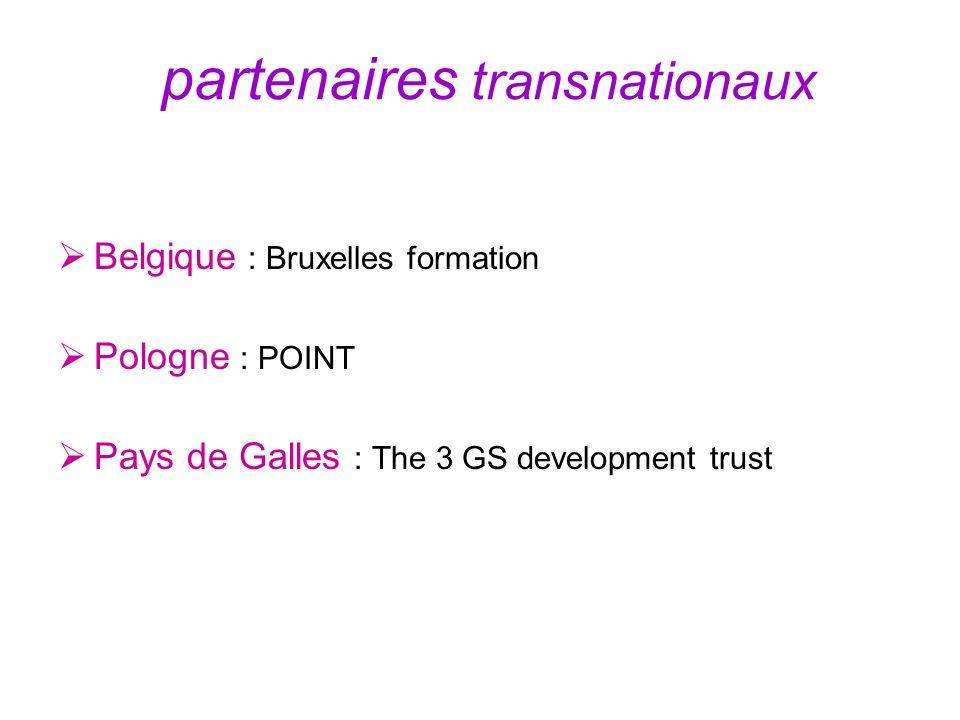 partenaires transnationaux Belgique : Bruxelles formation Pologne : POINT Pays de Galles : The 3 GS development trust