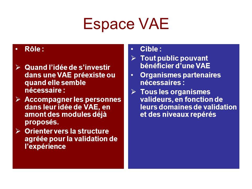 Espace VAE Rôle : Quand lidée de sinvestir dans une VAE préexiste ou quand elle semble nécessaire : Accompagner les personnes dans leur idée de VAE, en amont des modules déjà proposés.