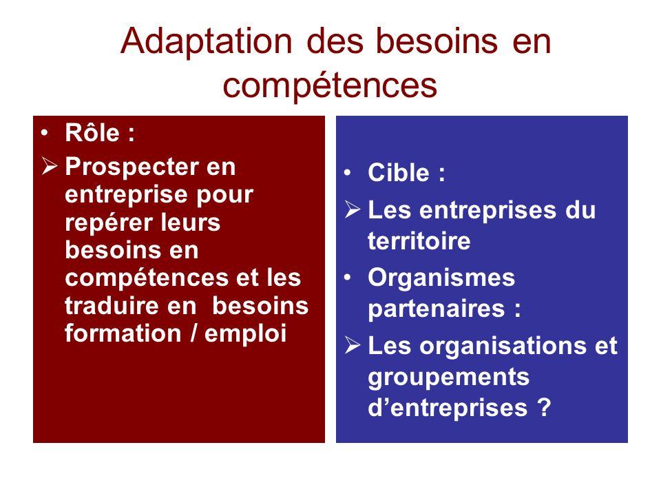 Adaptation des besoins en compétences Rôle : Prospecter en entreprise pour repérer leurs besoins en compétences et les traduire en besoins formation /