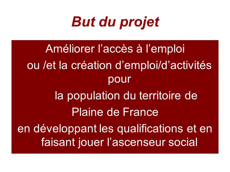 But du projet Améliorer laccès à lemploi ou /et la création demploi/dactivités pour la population du territoire de Plaine de France en développant les qualifications et en faisant jouer lascenseur social