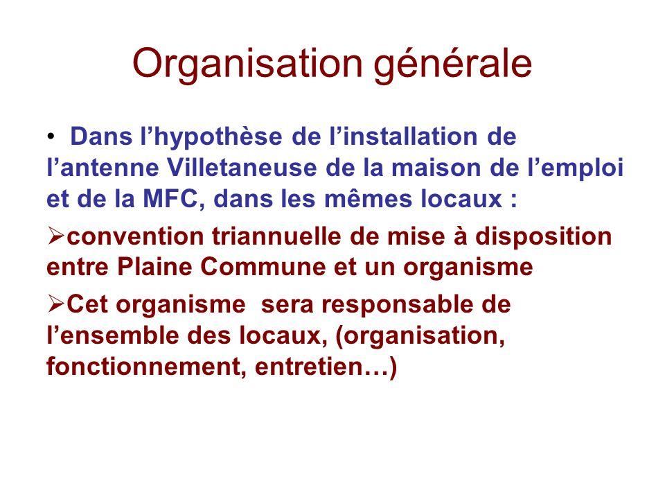 Organisation générale Dans lhypothèse de linstallation de lantenne Villetaneuse de la maison de lemploi et de la MFC, dans les mêmes locaux : conventi