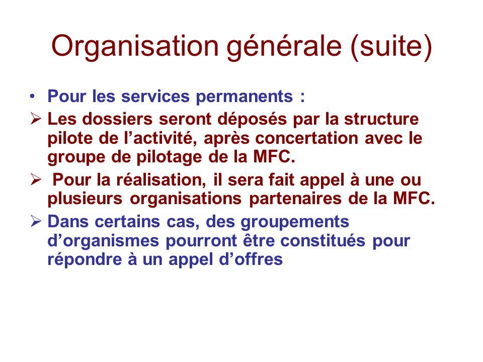 Organisation générale (suite) Pour les services permanents : Les dossiers seront déposés par la structure pilote de lactivité, après concertation avec