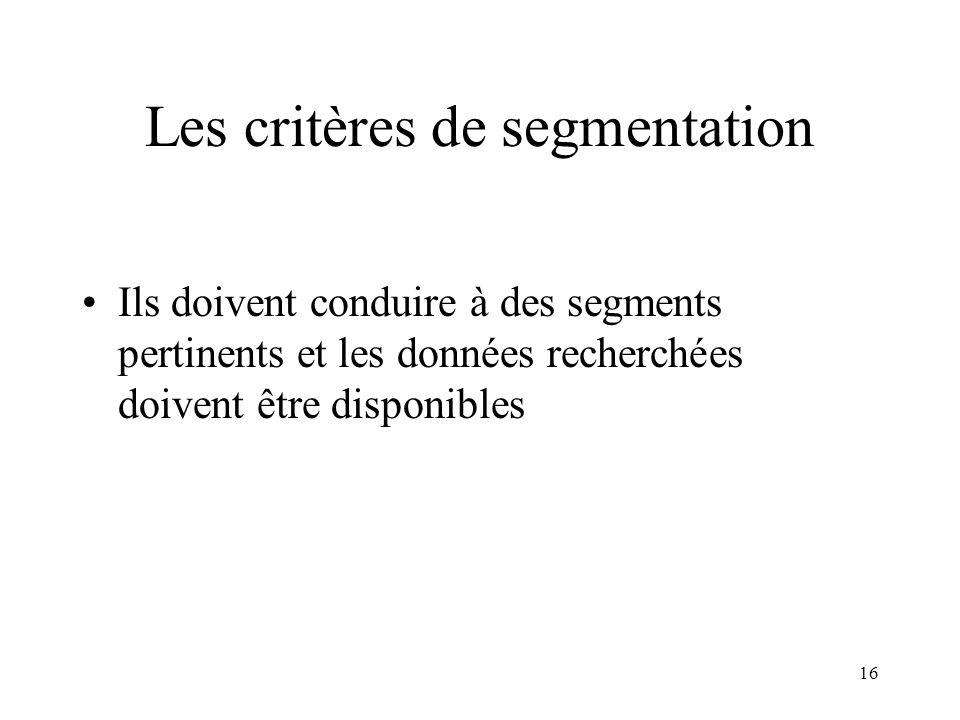 16 Les critères de segmentation Ils doivent conduire à des segments pertinents et les données recherchées doivent être disponibles