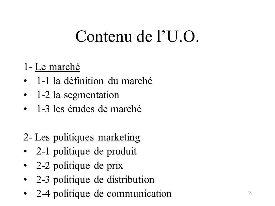 2 Contenu de lU.O. 1- Le marché 1-1 la définition du marché 1-2 la segmentation 1-3 les études de marché 2- Les politiques marketing 2-1 politique de