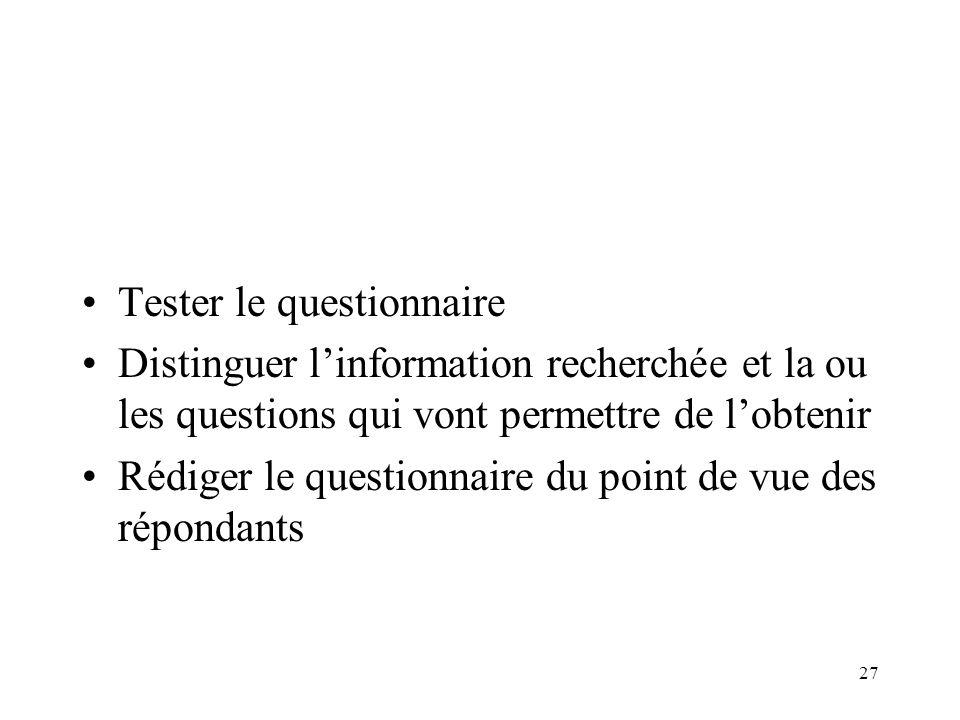 27 Tester le questionnaire Distinguer linformation recherchée et la ou les questions qui vont permettre de lobtenir Rédiger le questionnaire du point