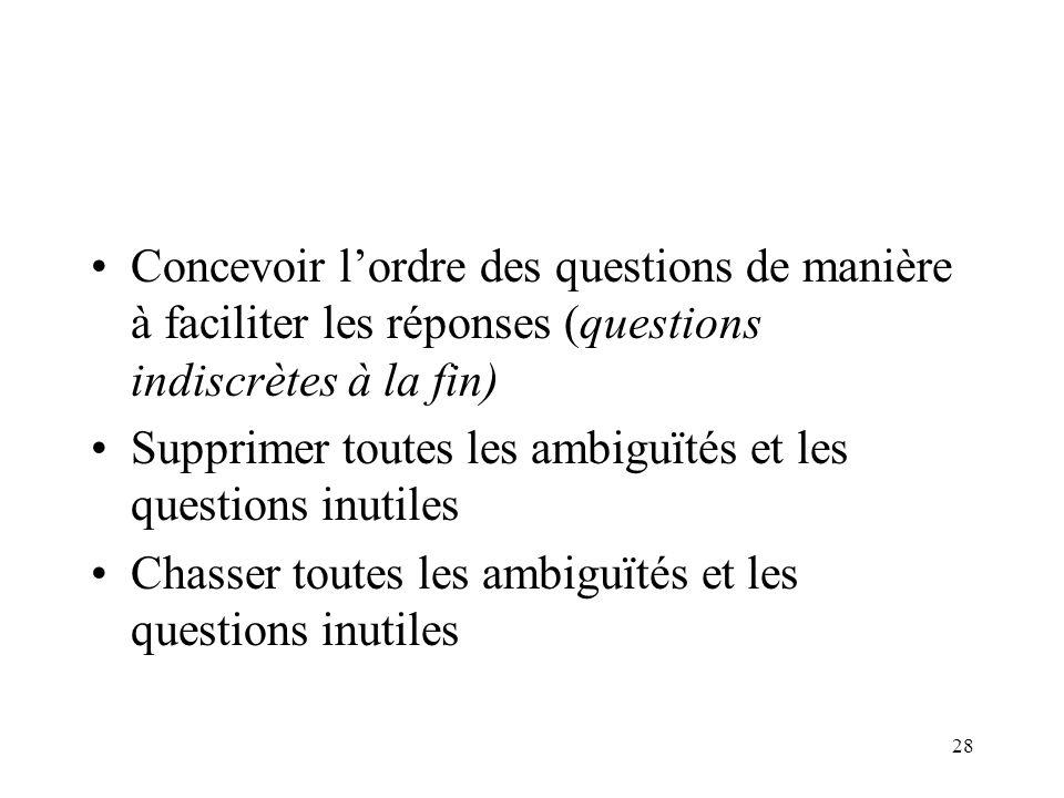 28 Concevoir lordre des questions de manière à faciliter les réponses (questions indiscrètes à la fin) Supprimer toutes les ambiguïtés et les questions inutiles Chasser toutes les ambiguïtés et les questions inutiles
