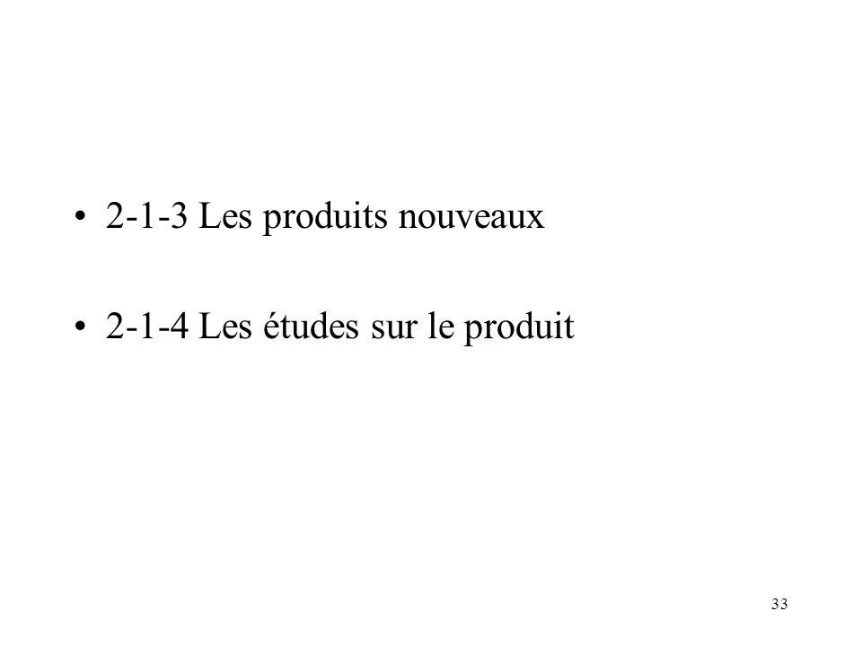 33 2-1-3 Les produits nouveaux 2-1-4 Les études sur le produit