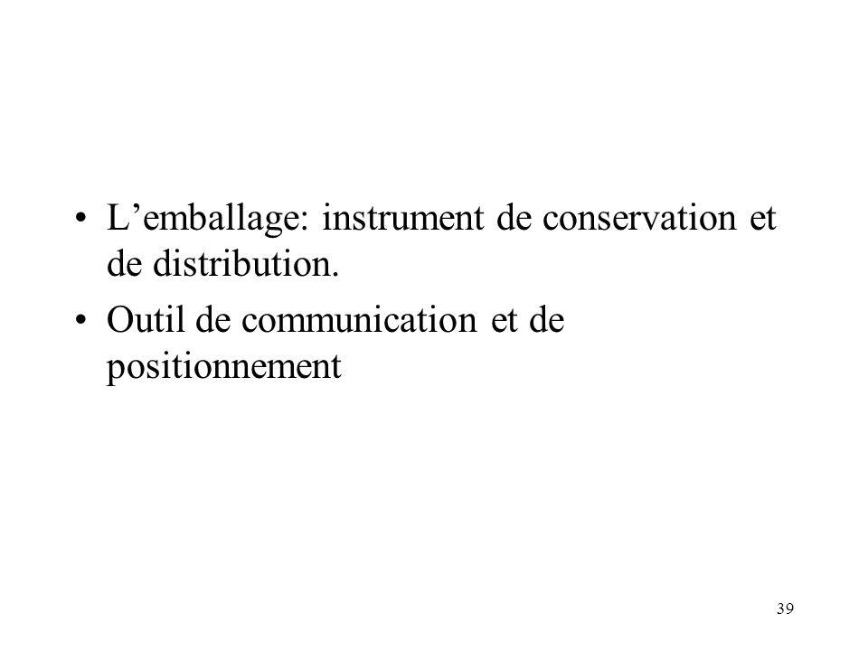 39 Lemballage: instrument de conservation et de distribution. Outil de communication et de positionnement