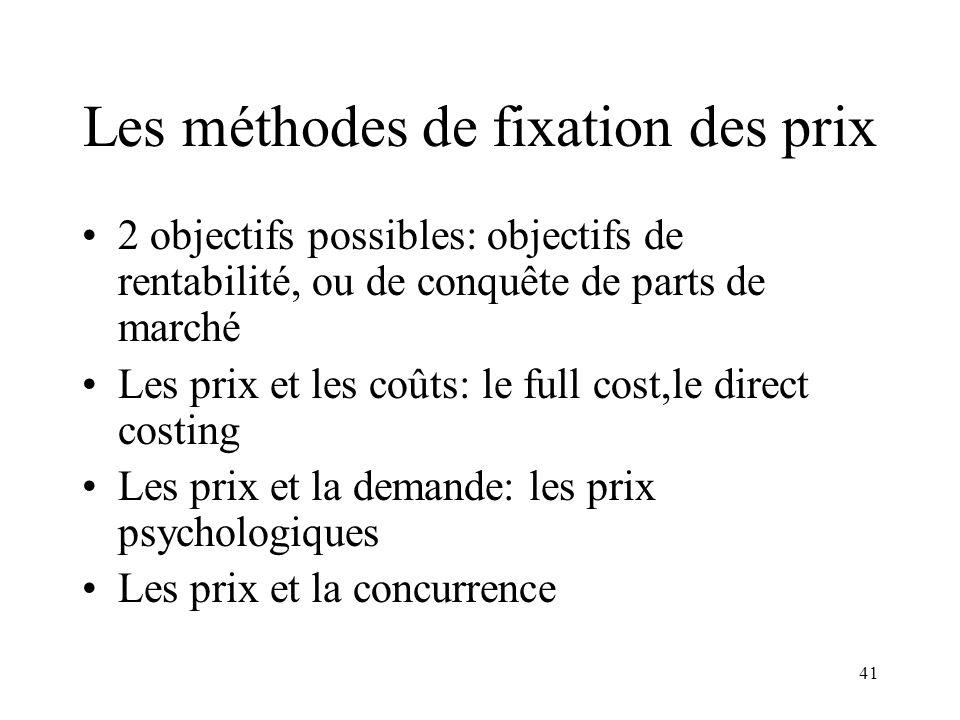 41 Les méthodes de fixation des prix 2 objectifs possibles: objectifs de rentabilité, ou de conquête de parts de marché Les prix et les coûts: le full
