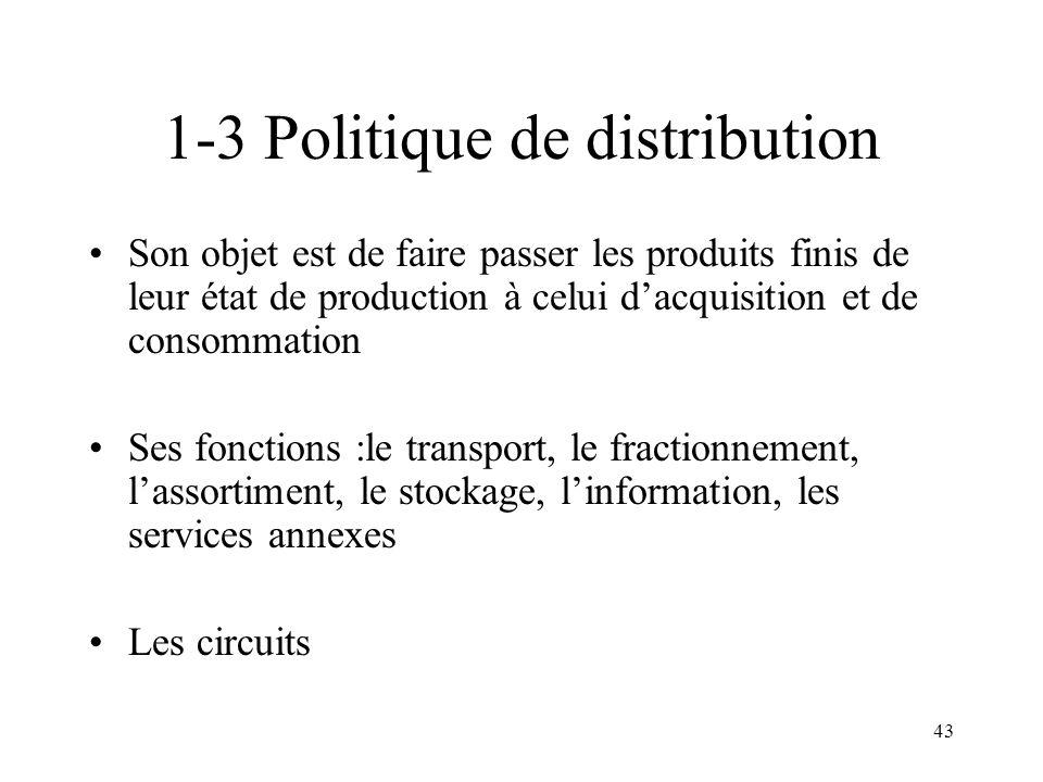 43 1-3 Politique de distribution Son objet est de faire passer les produits finis de leur état de production à celui dacquisition et de consommation S