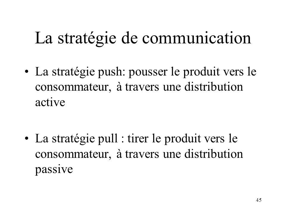 45 La stratégie de communication La stratégie push: pousser le produit vers le consommateur, à travers une distribution active La stratégie pull : tirer le produit vers le consommateur, à travers une distribution passive