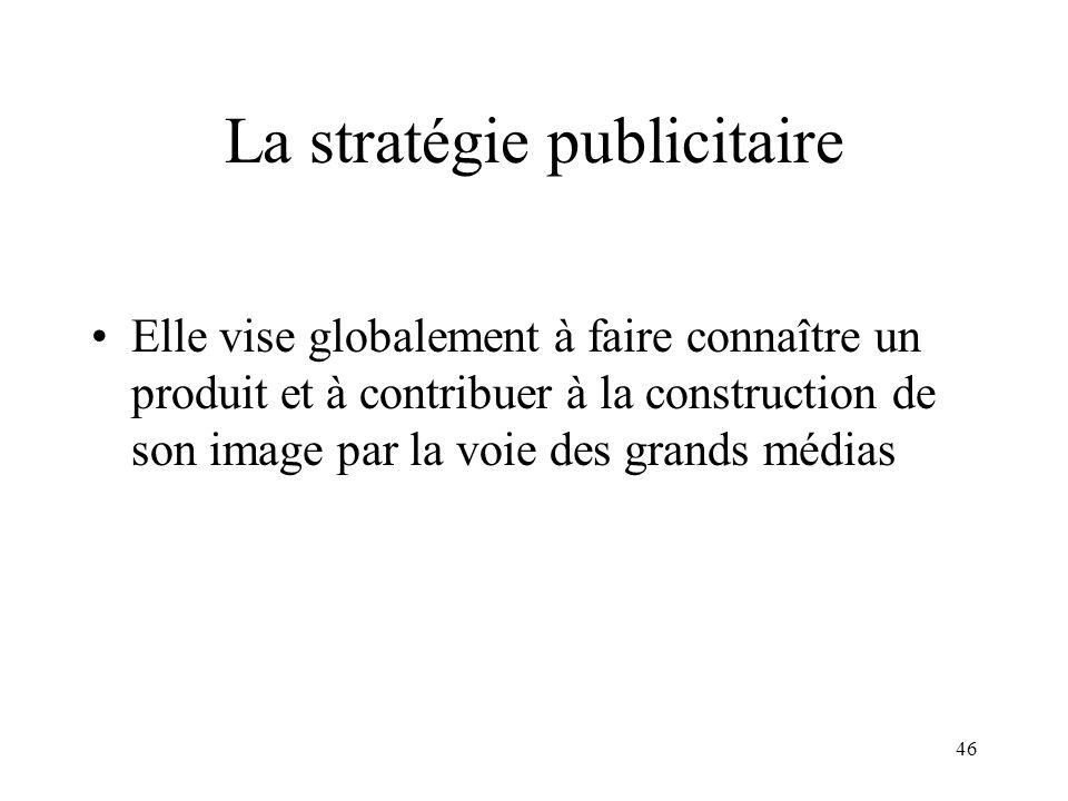 46 La stratégie publicitaire Elle vise globalement à faire connaître un produit et à contribuer à la construction de son image par la voie des grands médias