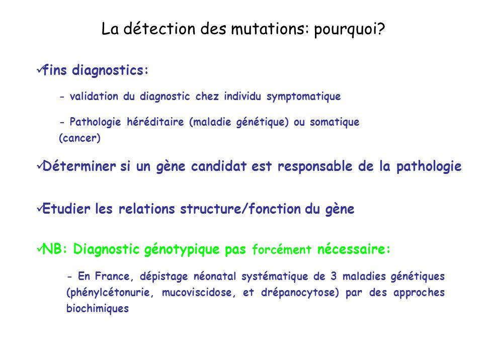 La détection des mutations: pourquoi? fins diagnostics: - validation du diagnostic chez individu symptomatique - Pathologie héréditaire (maladie génét