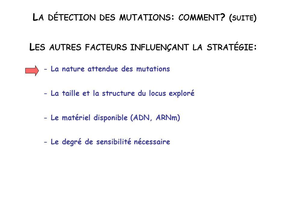 L A DÉTECTION DES MUTATIONS : COMMENT ? ( SUITE ) L ES AUTRES FACTEURS INFLUENÇANT LA STRATÉGIE : - La nature attendue des mutations - La taille et la