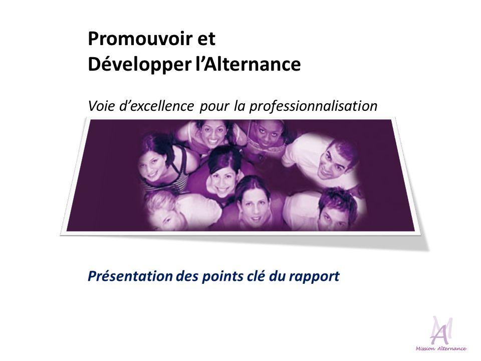 Promouvoir et Développer lAlternance Voie dexcellence pour la professionnalisation Présentation des points clé du rapport