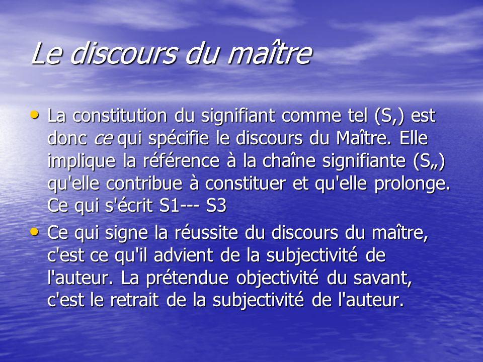 Le discours du maître La constitution du signifiant comme tel (S,) est donc ce qui spécifie le discours du Maître. Elle implique la référence à la cha
