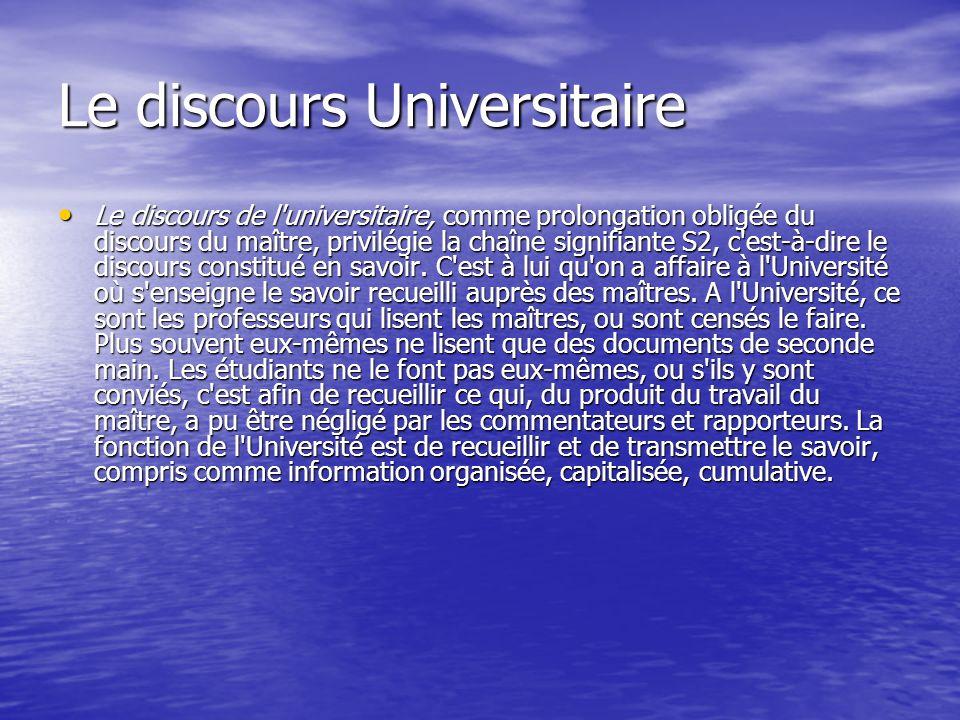 Le discours Universitaire Le discours de l'universitaire, comme prolongation obligée du discours du maître, privilégie la chaîne signifiante S2, c'es