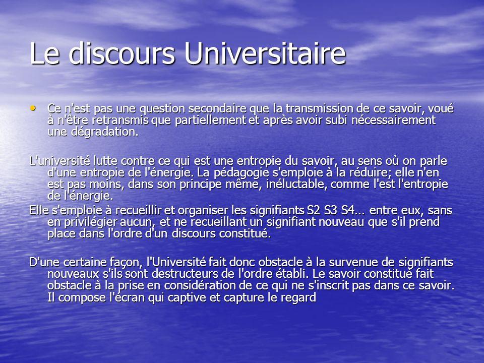 Le discours Universitaire Ce n'est pas une question secondaire que la transmission de ce savoir, voué à n'être retransmis que partiellement et après a