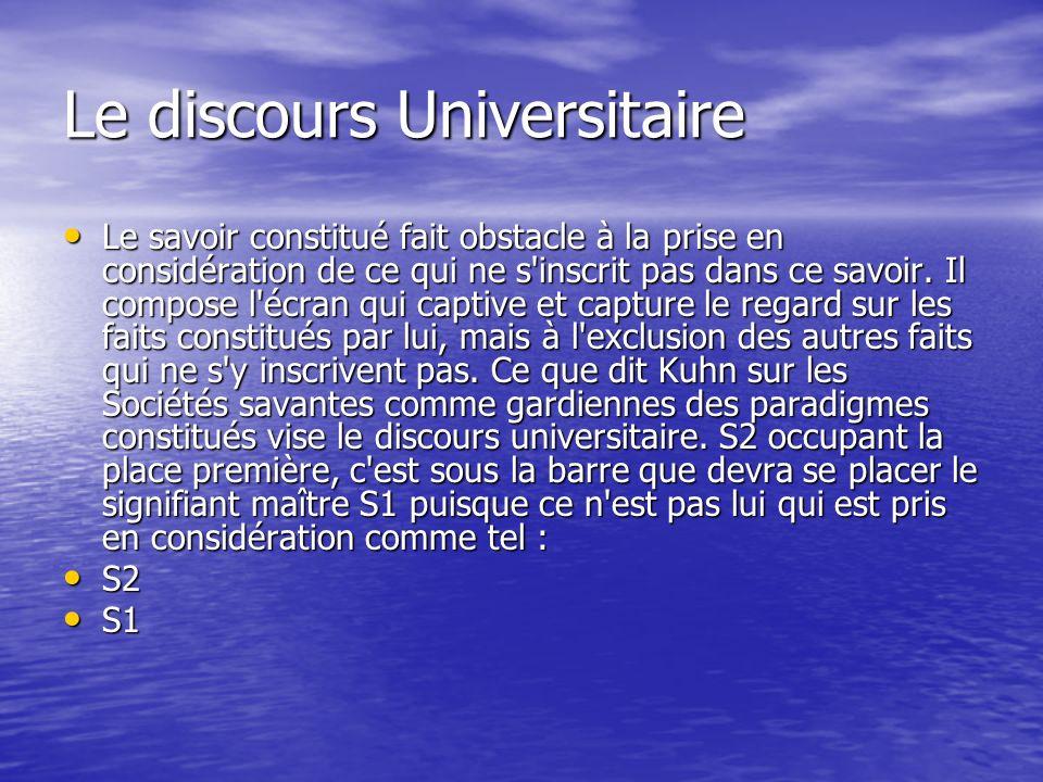 Le discours Universitaire Le savoir constitué fait obstacle à la prise en considération de ce qui ne s'inscrit pas dans ce savoir. Il compose l'écran