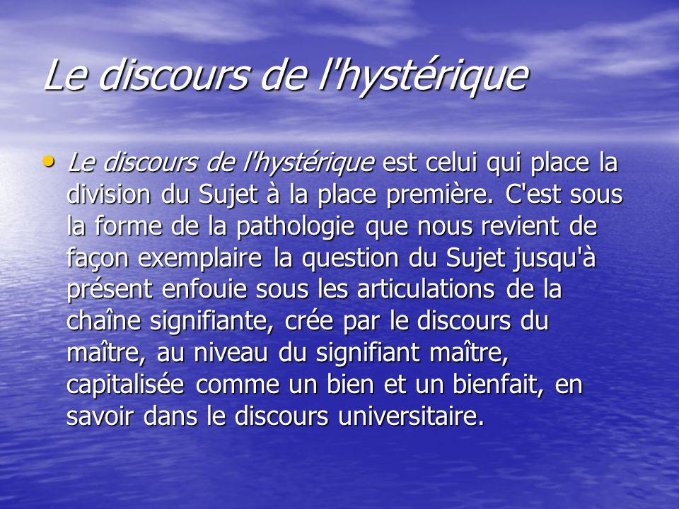 Le discours de l'hystérique Le discours de l'hystérique est celui qui place la division du Sujet à la place première. C'est sous la forme de la pathol