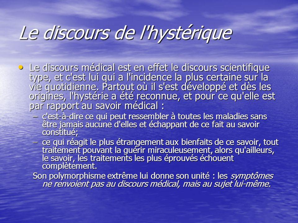 Le discours de l'hystérique Le discours médical est en effet le discours scientifique type, et c'est lui qui a l'incidence la plus certaine sur la vie