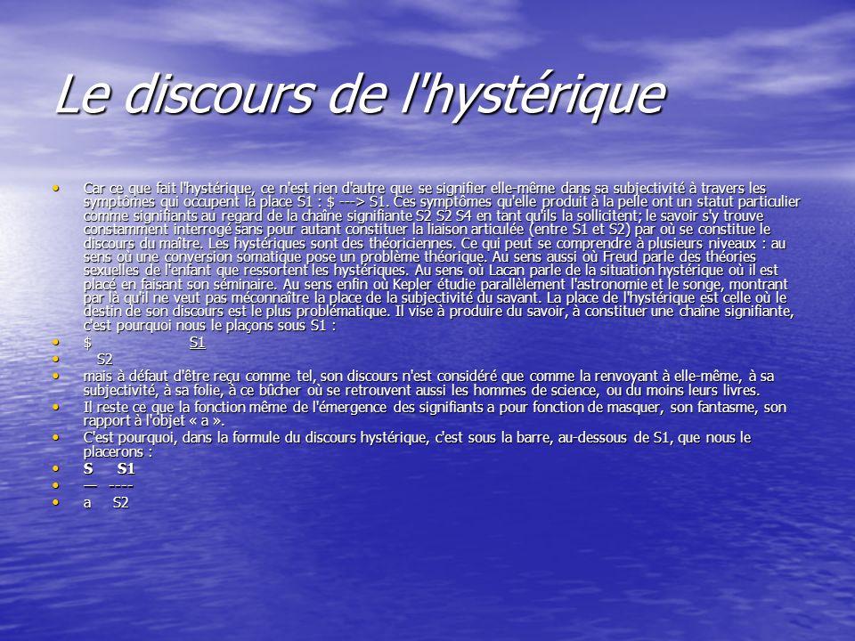 Le discours de l'hystérique Car ce que fait l'hystérique, ce n'est rien d'autre que se signifier elle-même dans sa subjectivité à travers les symptôm