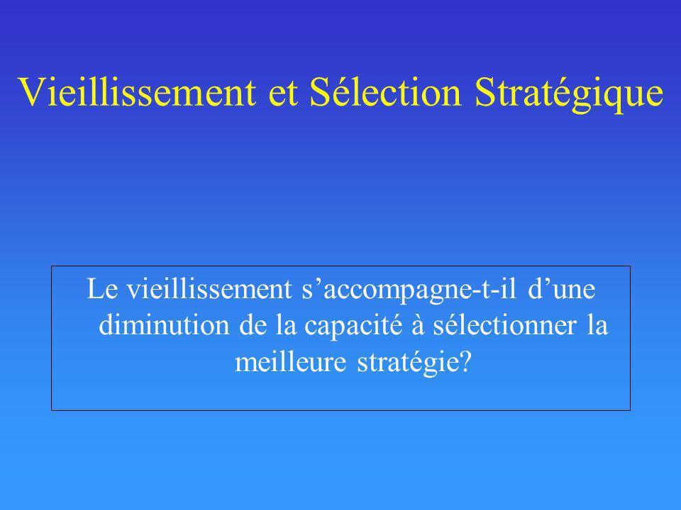 Vieillissement et Sélection Stratégique Le vieillissement saccompagne-t-il dune diminution de la capacité à sélectionner la meilleure stratégie?