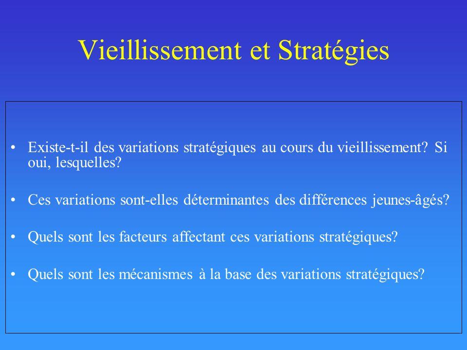 Vieillissement et Stratégies Existe-t-il des variations stratégiques au cours du vieillissement? Si oui, lesquelles? Ces variations sont-elles détermi