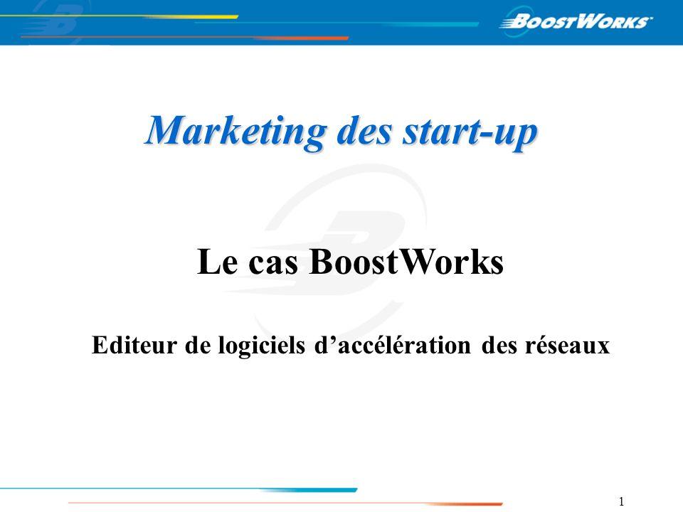 1 Marketing des start-up Le cas BoostWorks Editeur de logiciels daccélération des réseaux