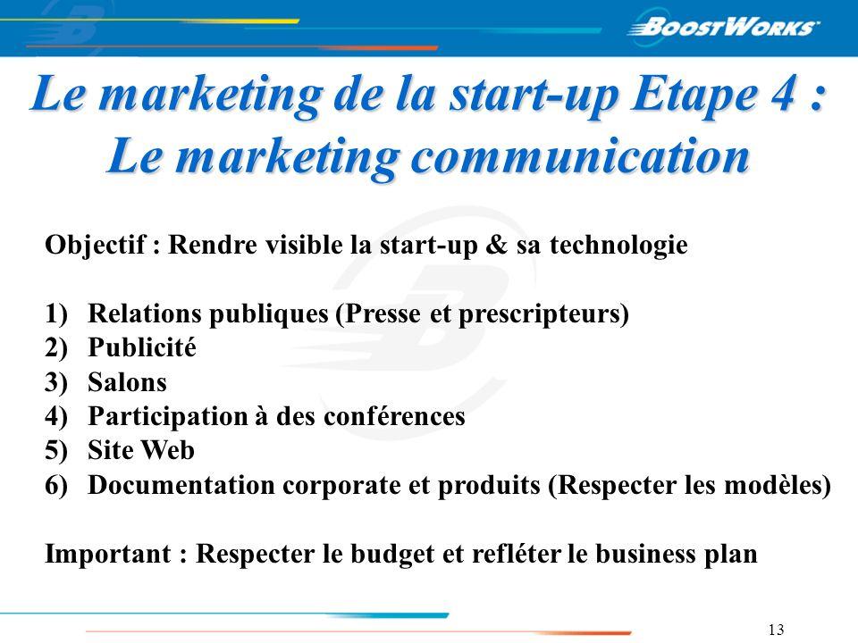 13 Le marketing de la start-up Etape 4 : Le marketing communication Objectif : Rendre visible la start-up & sa technologie 1)Relations publiques (Pres