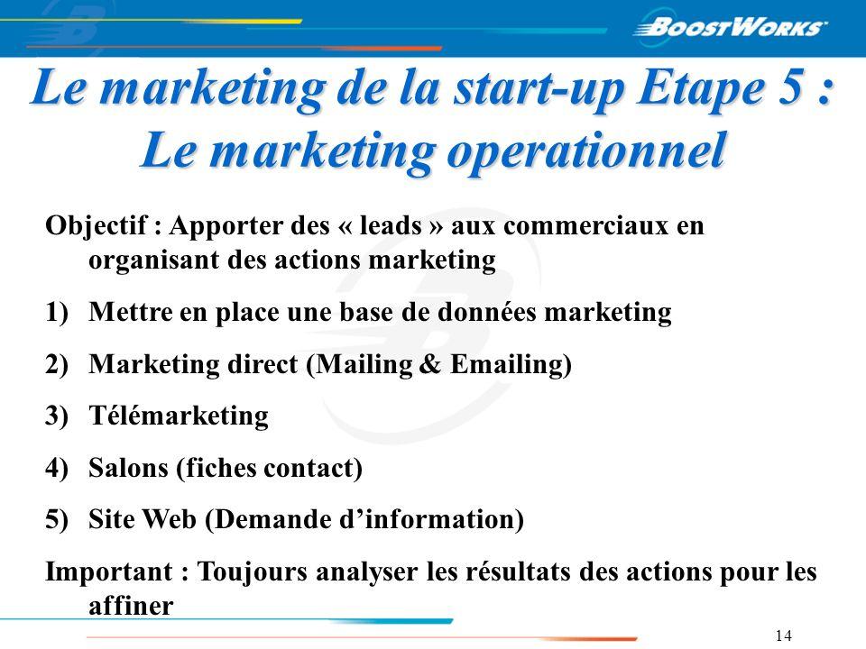 14 Le marketing de la start-up Etape 5 : Le marketing operationnel Objectif : Apporter des « leads » aux commerciaux en organisant des actions marketi