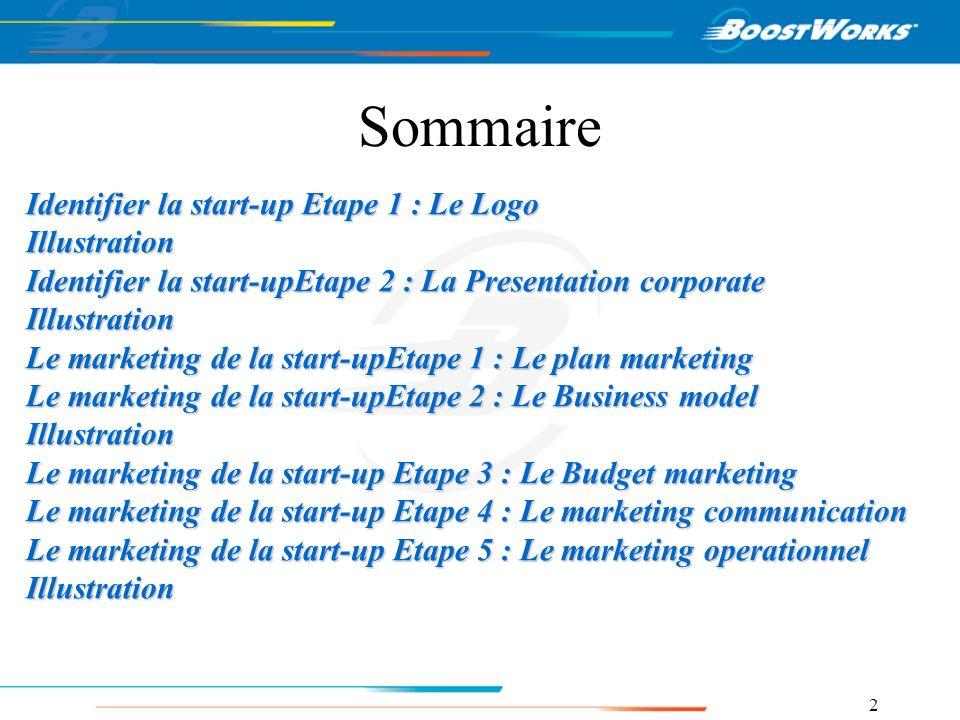 2 Sommaire Identifier la start-up Etape 1 : Le Logo Illustration Identifier la start-upEtape 2 : La Presentation corporate Illustration Le marketing d