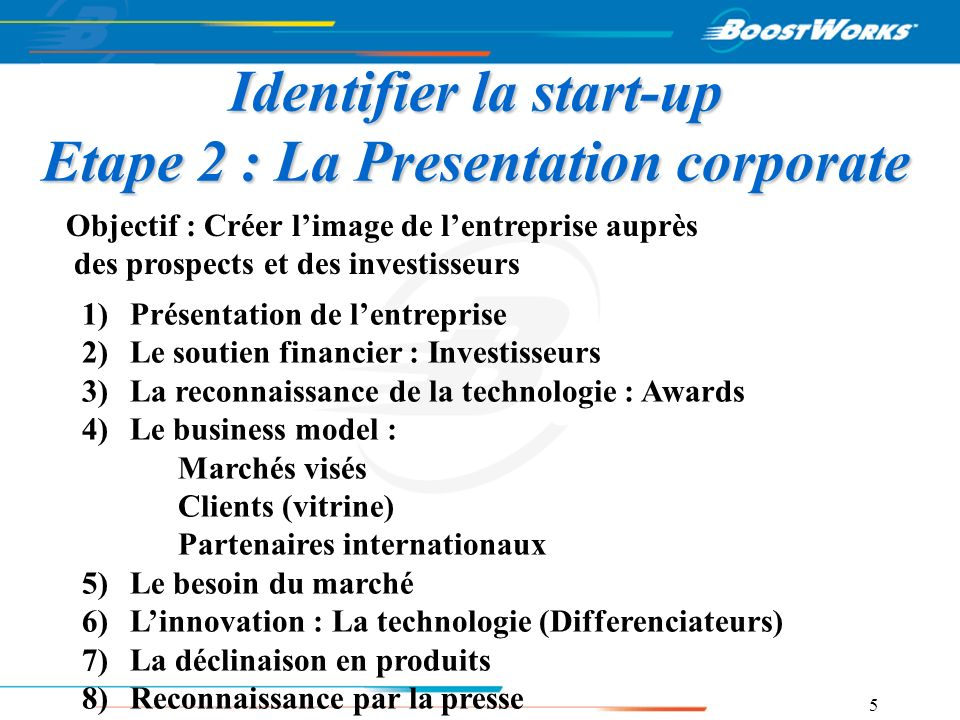 5 Identifier la start-up Etape 2 : La Presentation corporate 1)Présentation de lentreprise 2)Le soutien financier : Investisseurs 3)La reconnaissance