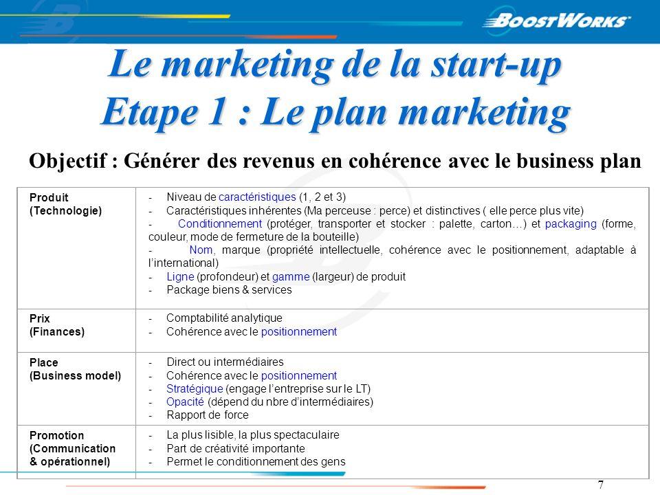 8 Le marketing de la start-up Etape 2 : Le Business model Objectif : Définir les moyens de générer des revenus 1) Types de marchés visés 2) Zones géographiques 3) Canaux de commercialisation : Direct – Indirect.