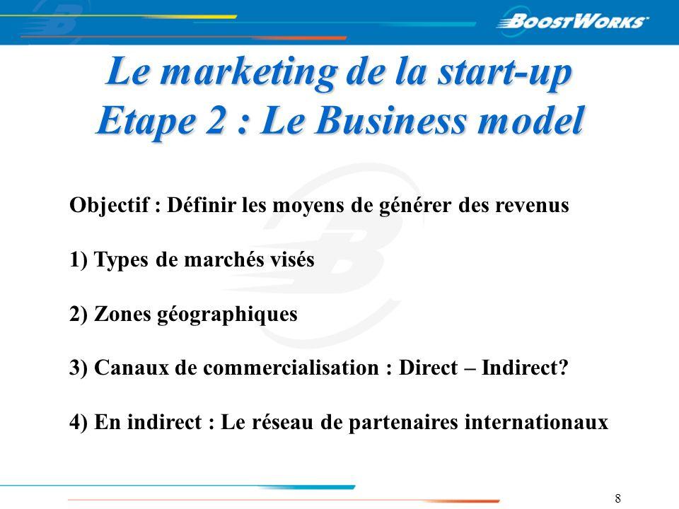8 Le marketing de la start-up Etape 2 : Le Business model Objectif : Définir les moyens de générer des revenus 1) Types de marchés visés 2) Zones géog