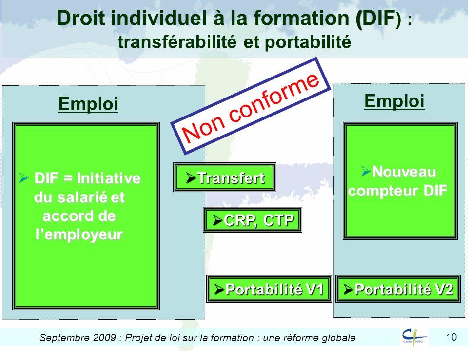 10 Septembre 2009 : Projet de loi sur la formation : une réforme globale Emploi ( Droit individuel à la formation (DIF ) : transférabilité et portabil