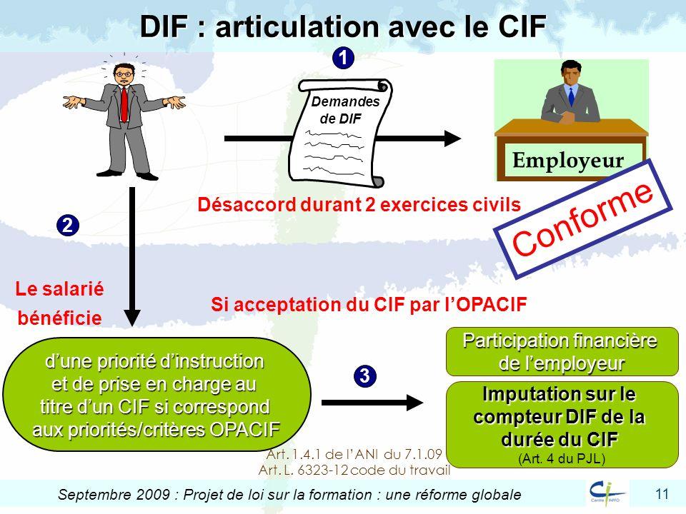 11 Septembre 2009 : Projet de loi sur la formation : une réforme globale DIF : articulation avec le CIF Employeur Désaccord durant 2 exercices civils