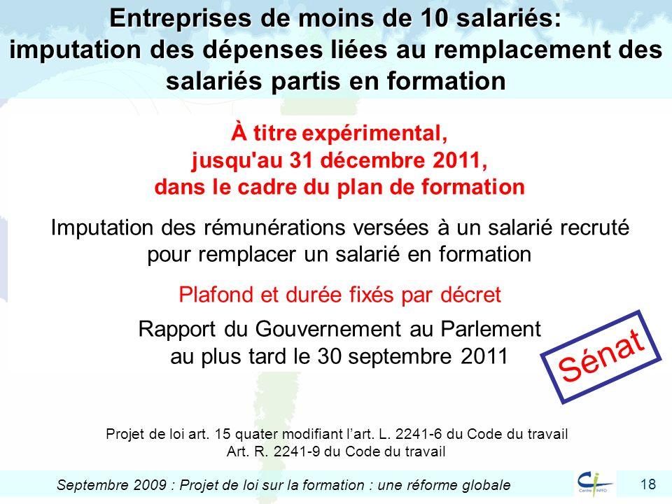 18 Septembre 2009 : Projet de loi sur la formation : une réforme globale Entreprises de moins de 10 salariés: imputation des dépenses liées au remplac