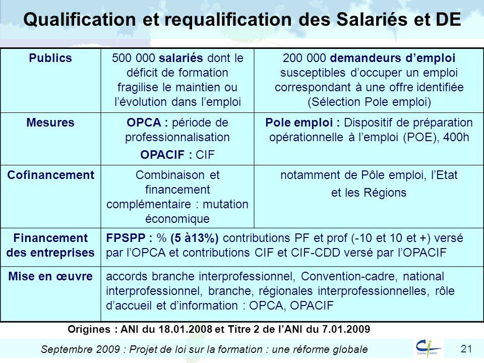 21 Septembre 2009 : Projet de loi sur la formation : une réforme globale Qualification et requalification des Salariés et DE Publics500 000 salariés d
