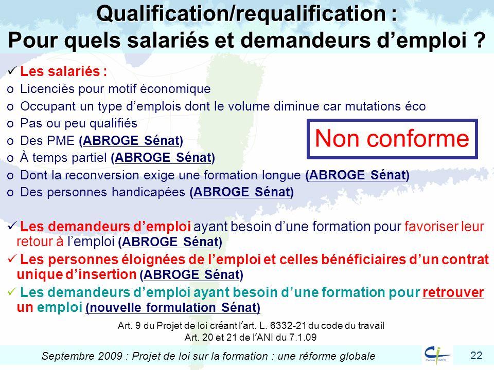 22 Septembre 2009 : Projet de loi sur la formation : une réforme globale Qualification/requalification : Pour quels salariés et demandeurs demploi ? L